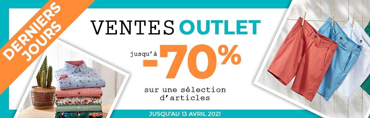 Ventes Outlet jusqu'à -70% du 1er au 13 avril 2021