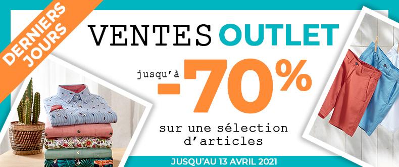 Ventes Outlet jusqu'à -50% du 1er au 13 avril 2021